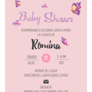 Invitación Baby Shower Mariposa