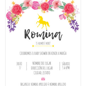 Invitación Baby Shower Unicornio flores