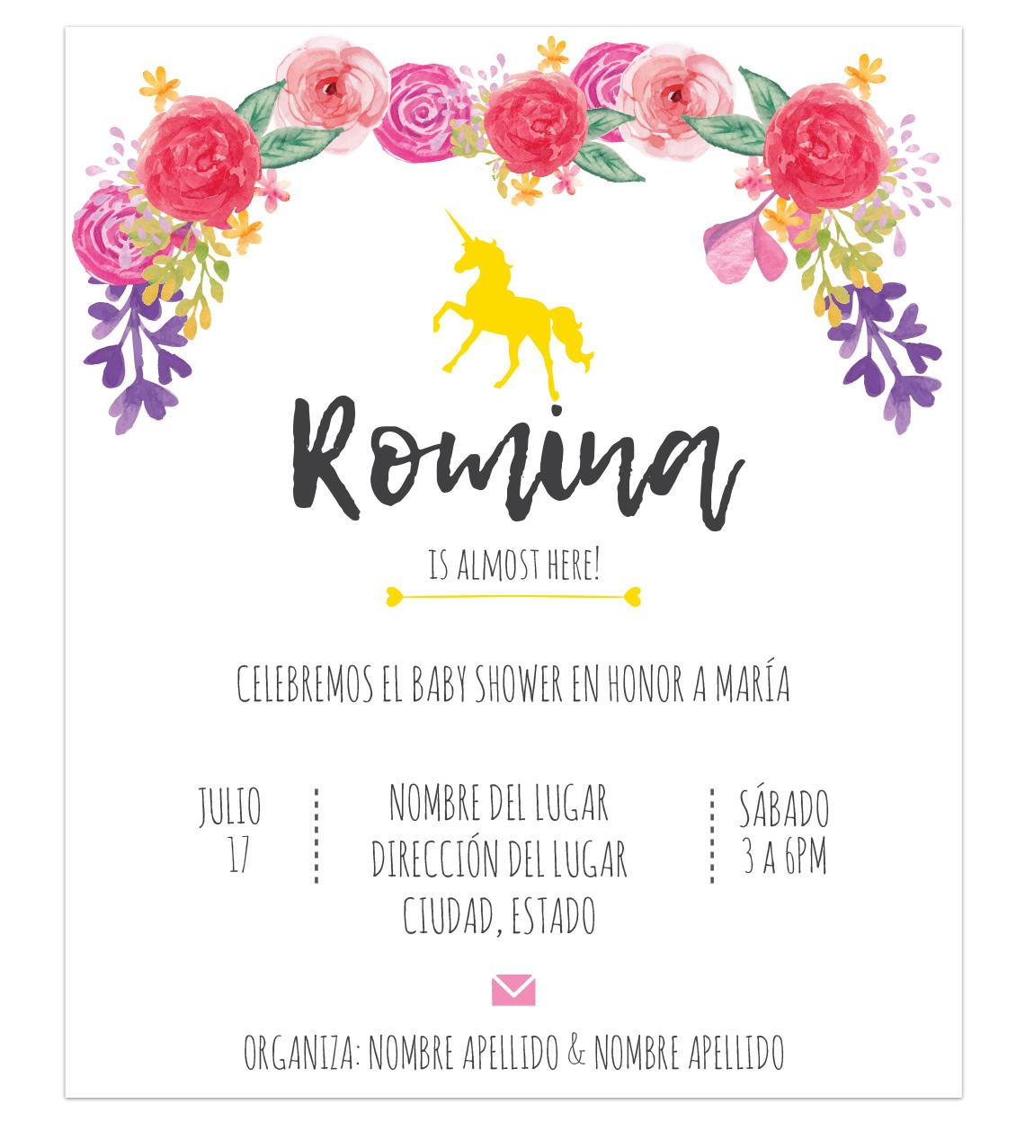 ... Invitación Baby Shower Unicornio Flores ...