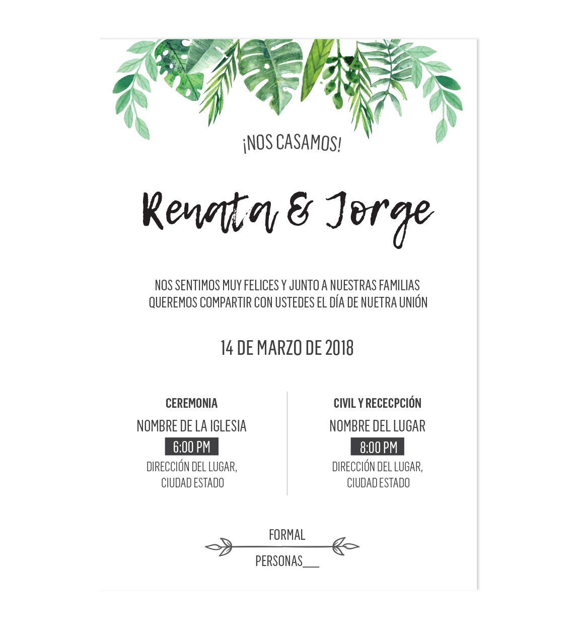Diseño Invitación Boda Jungle