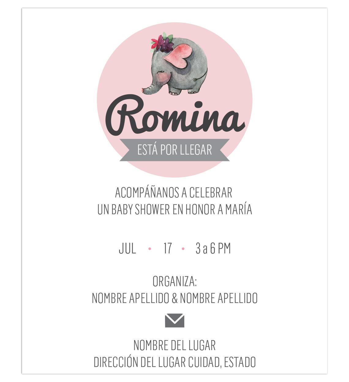 Diseño Invitación Baby Shower Elefante Rosa