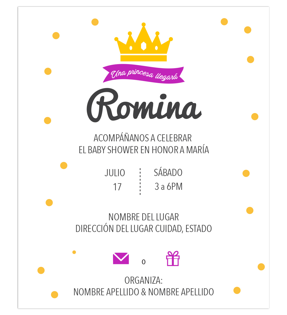 Diseño Invitación Baby Shower princesa