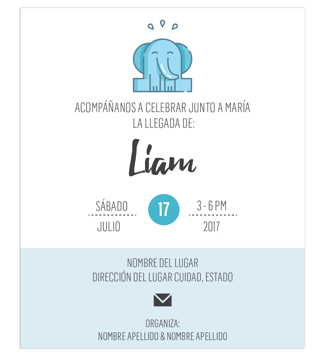 Invitación Baby Shower Elefante Azul