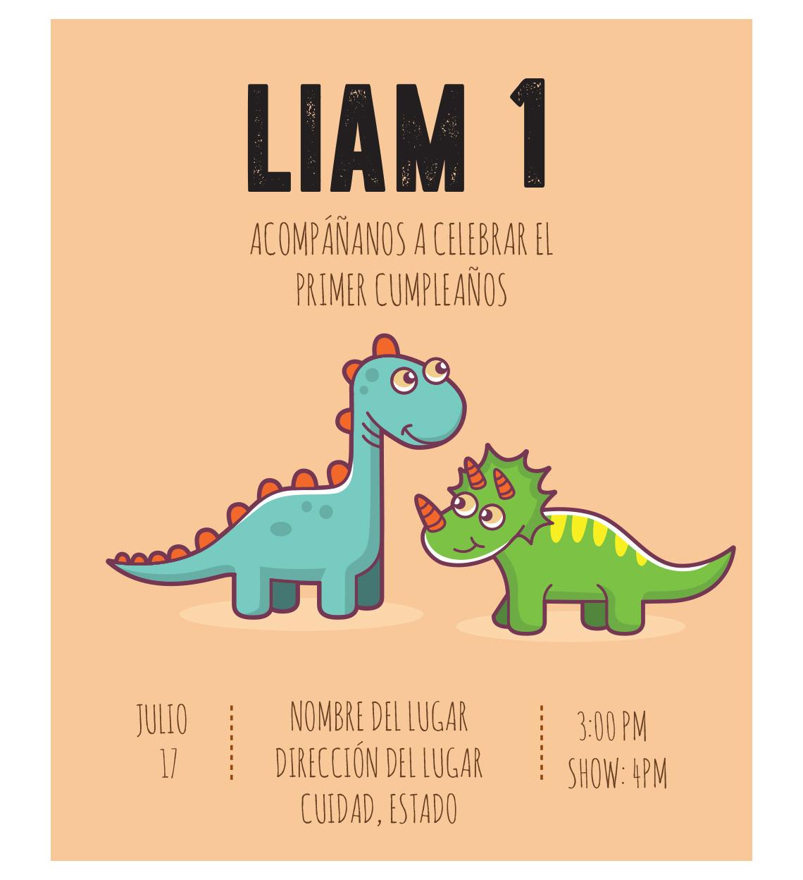 Invitación Cumpleaños Dinosaurios