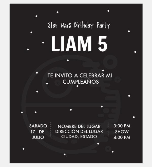 Invitación Cumpleaños Star Wars Estrella