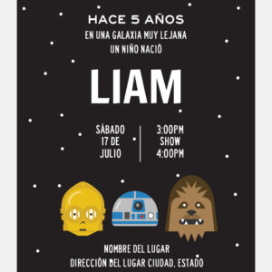 Invitación Star Wars 3 Amigos