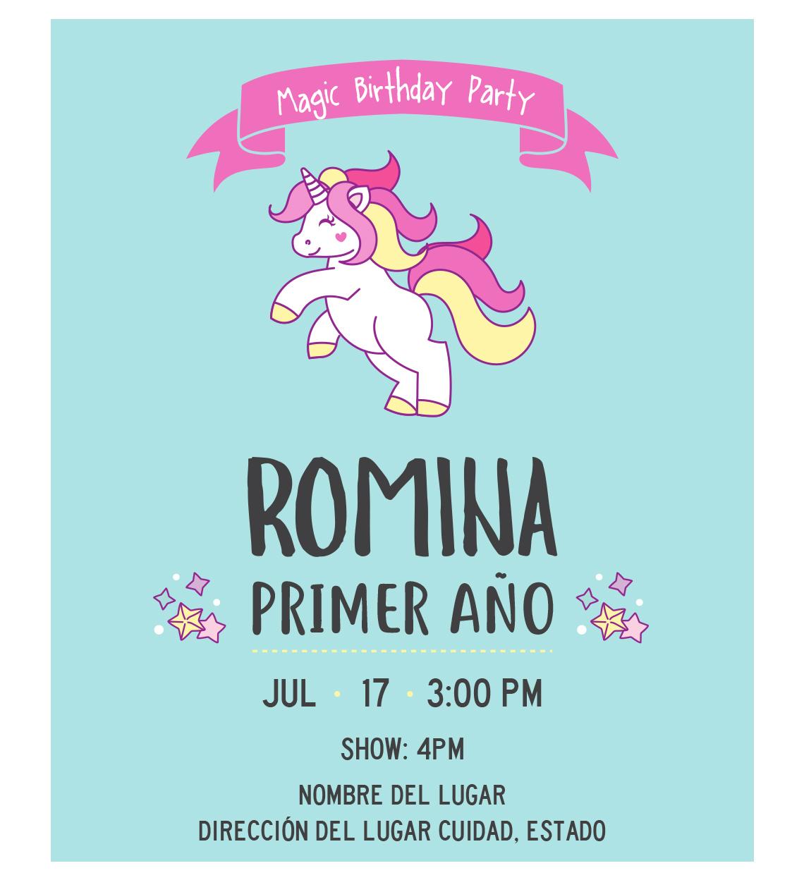 Invitación Cumpleaños Unicornio Aqua