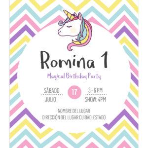 Invitación Unicornio Rayas