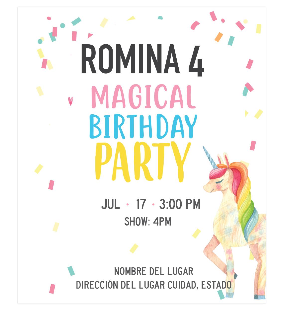 Invitación Cumpleaños Magic Unicornio