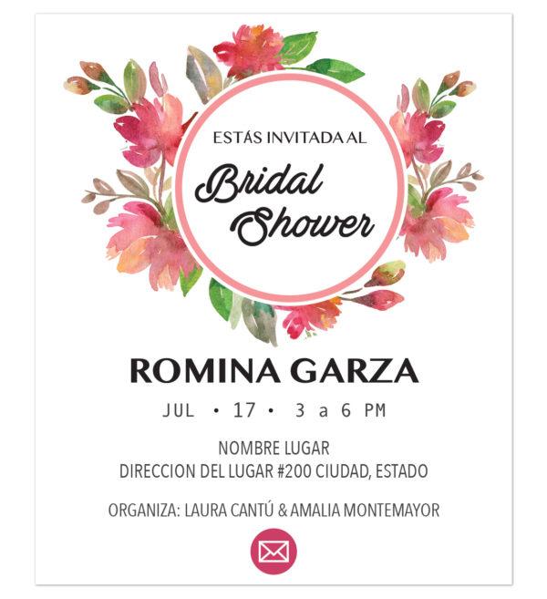 Invitación Despedida de Soltera Flor Circular