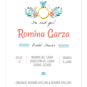 Invitación Despedida de Soltera Anillo