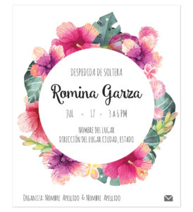 Invitación Despedida de Soltera Tropical Circular