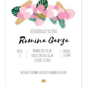 Invitación de Despedida de Soltera Globos Rosa Claro