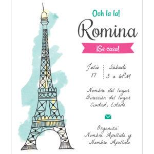 Invitación Despedida Soltera Torre Eiffel