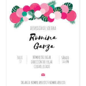Invitación Despedida de Soltera Globos Rosa Fuerte