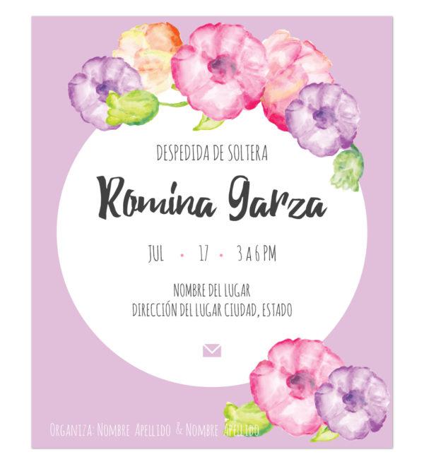 Invitación Despedida de Soltera Flores Morada