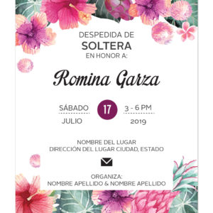 Invitación Despedida de Soltera Tropical