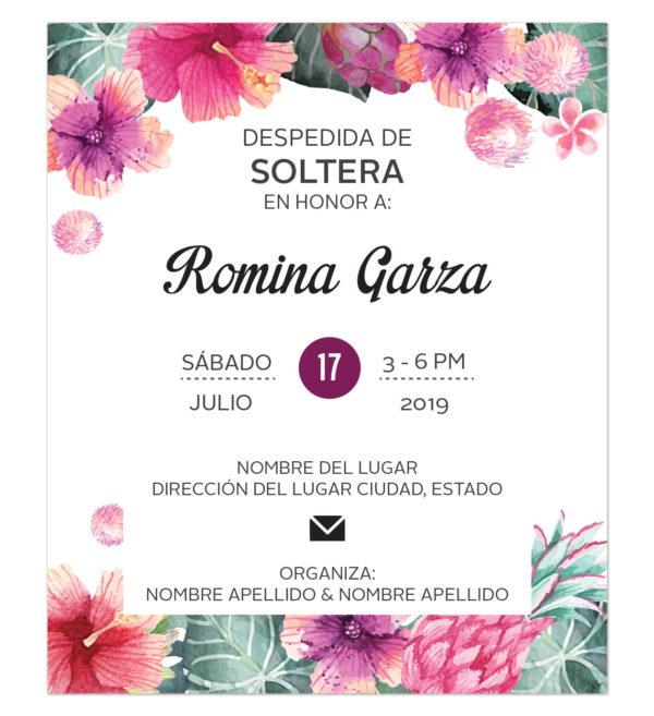 Invitación Despedida de Soltera Tropical