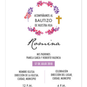 Invitación Bautizo Flores