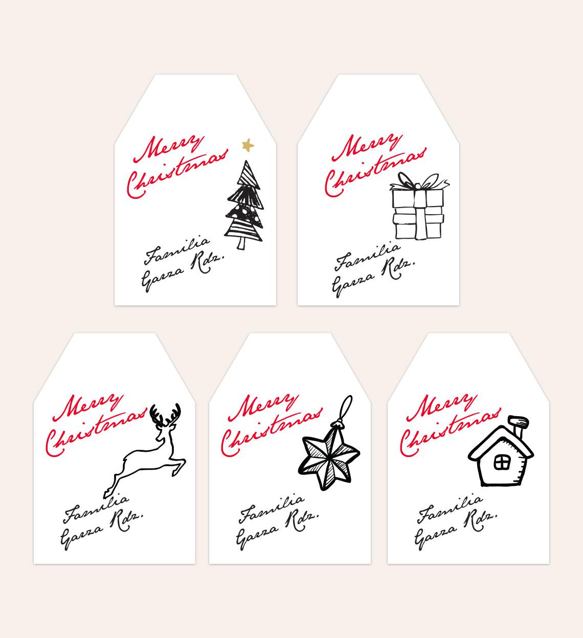 Diseño Etiquetas Dibujos Navideños