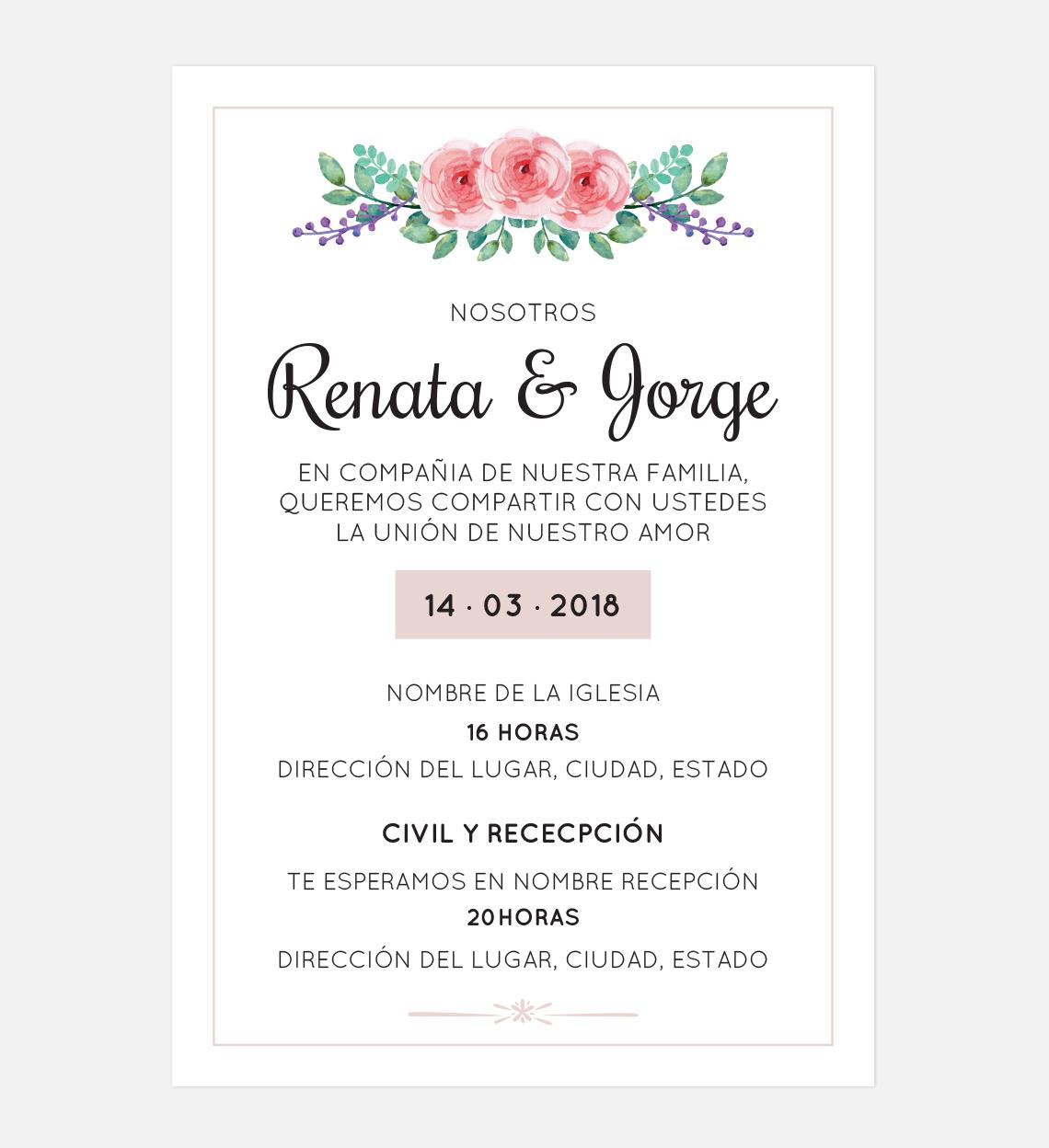 Invitación Boda Flor