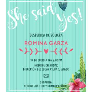 Invitación Despedida Soltera Verde Flores