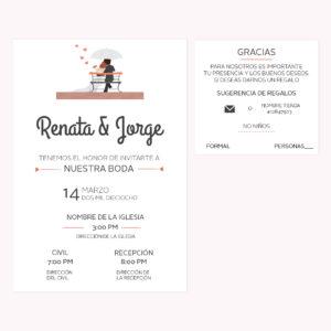 Invitación Boda Novios Banca