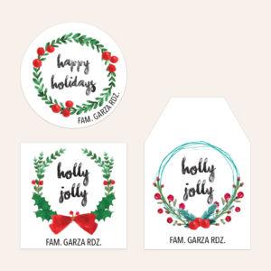 Etiqueta Regalos Navidad Coronas