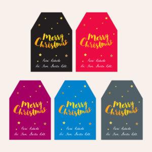 Etiquetas para Regalos Navidad Gold