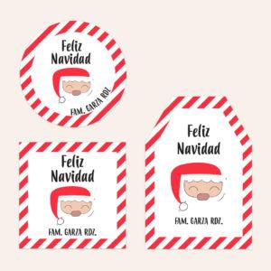 Diseño de Etiquetas para Regalos Santa
