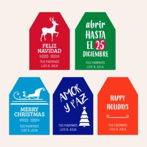 Diseño de Etiquetas Navidad Color