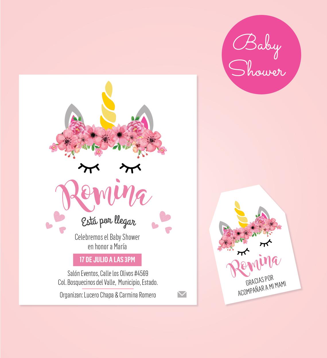 Dise o de invitaci n tarjeta de agradecimiento para baby for Diseno de mesa de unicornio
