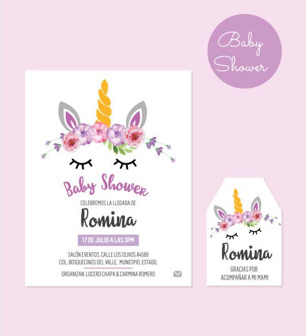Dúo Diseño Baby Shower Unicornio Morado