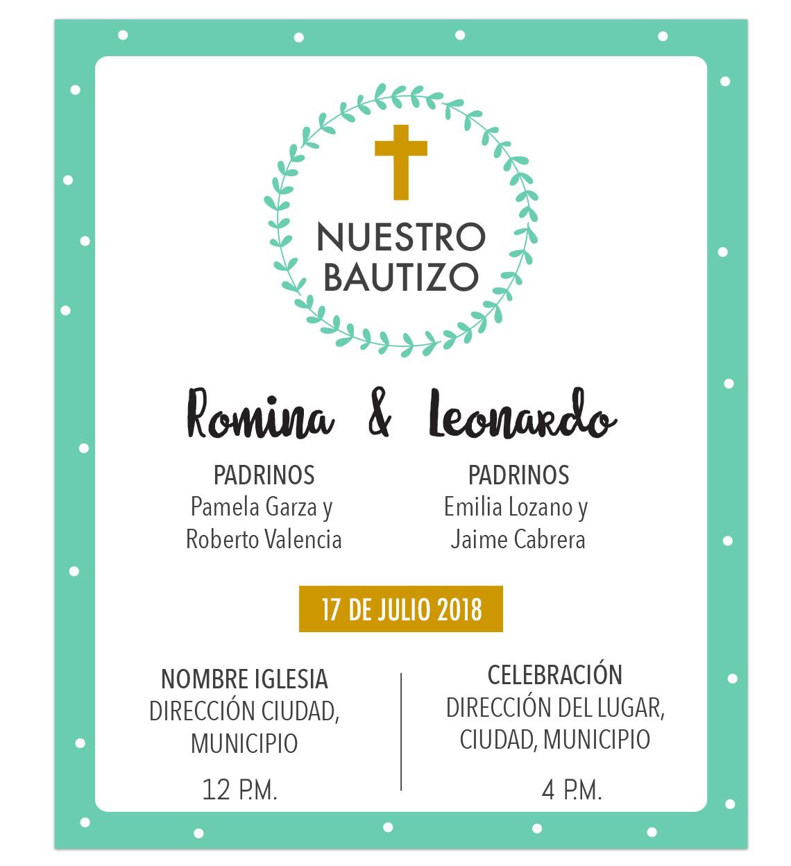 Invitación Bautizo Hermanitos