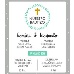 Diseño de Invitación Bautizo Gris