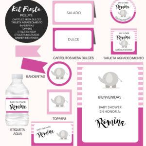 Kit Completo Fiesta Baby Shower Elefante Rosa