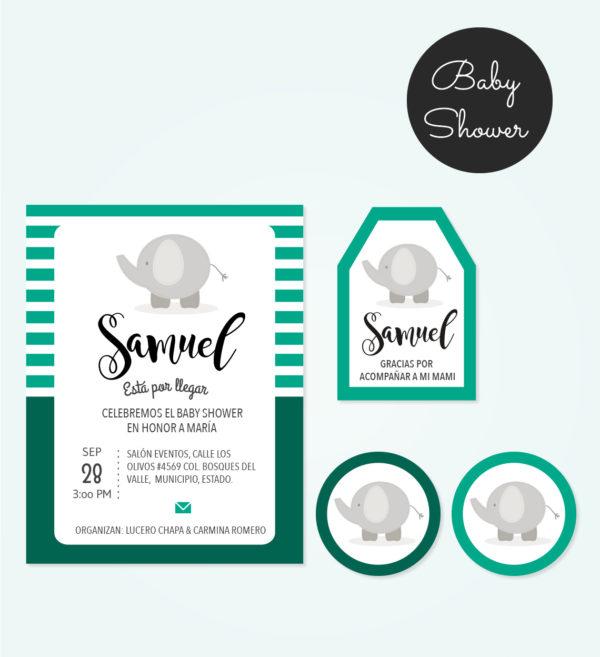 Kit Baby Shower Elefante Verde