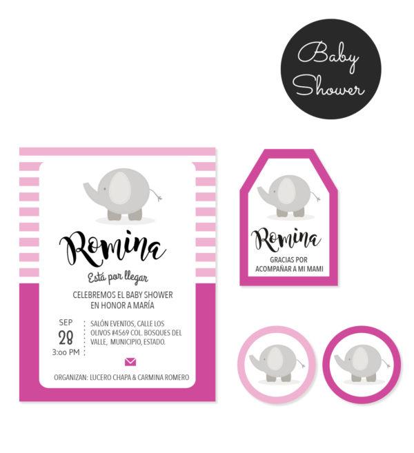 Kit Baby Shower Elefante Rosa
