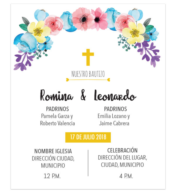 Diseño de Invitación Bautizo Flores Mixto