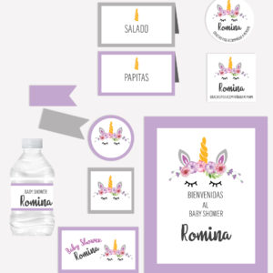 Kit Completo Fiesta Baby Shower Unicornio Morado
