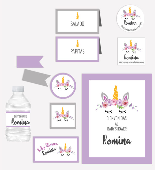 Kit Completo Fiesta Baby Shower Unicornio Morado