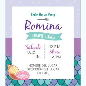 Invitación Sirenita Cachivache