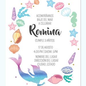 Invitación La Sirenita Colores