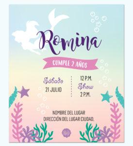 Invitación Sirena Multicolor