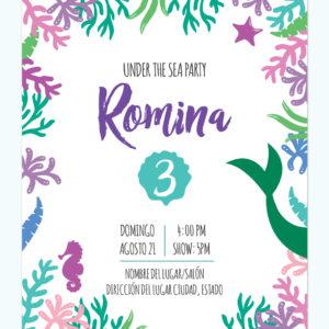 Invitación Sirena Algas Marinas