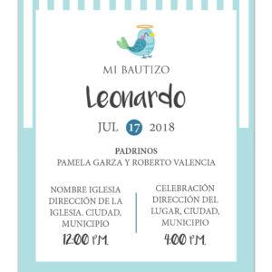 Diseño de Invitación Bautizo Blue Bird