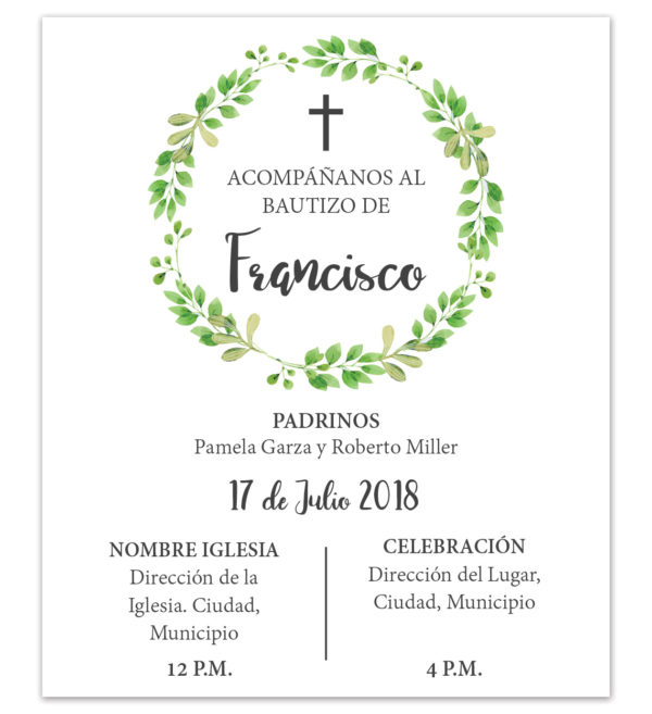 Diseño de Invitación Bautizo Hojas