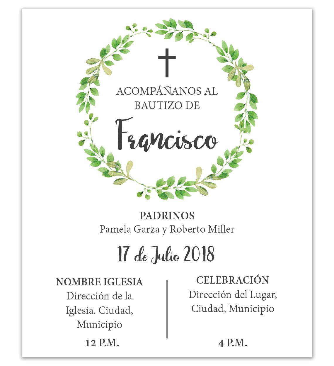 diseño de invitación bautizo hojas personalizada