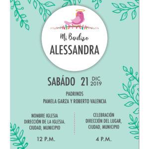 Diseño de Invitación Bautizo Pink Bird