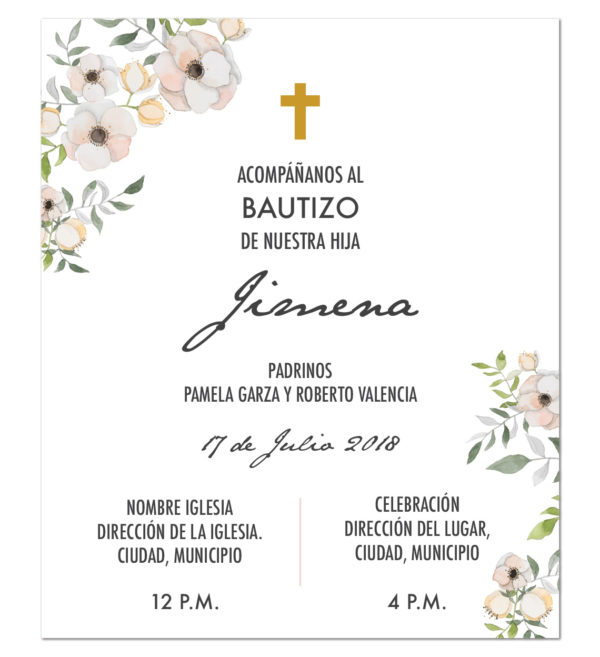 Diseño de Invitación Bautizo Clásica